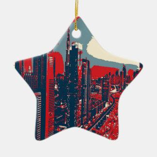 Artistic Dubai Skyline pop art Ceramic Star Decoration