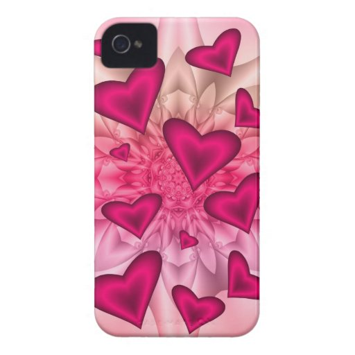 Artistic floral case with hot pink hearts blackberry bold covers