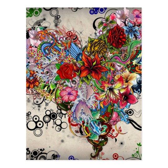 Artistic Floral Heart Valentine Postcard