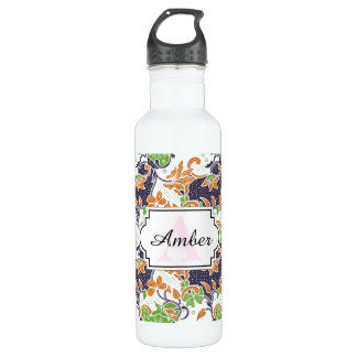 Artistic floral vines batik pattern 710 ml water bottle