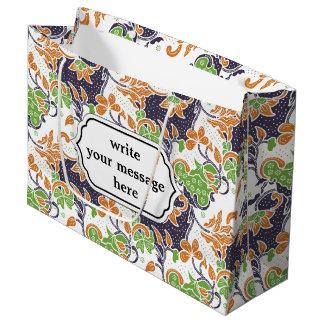 Artistic floral vines batik pattern large gift bag