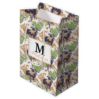 Artistic floral vines batik pattern medium gift bag