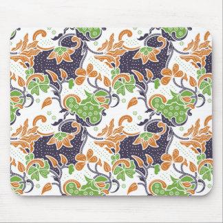 Artistic floral vines batik pattern mouse pad