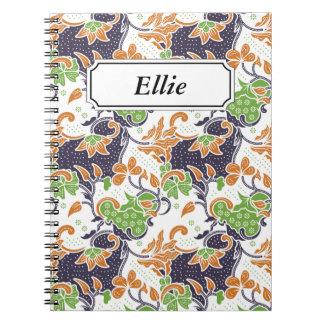 Artistic floral vines batik pattern notebook