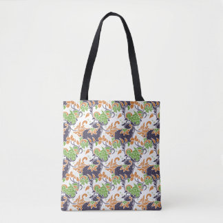 Artistic floral vines batik pattern tote bag