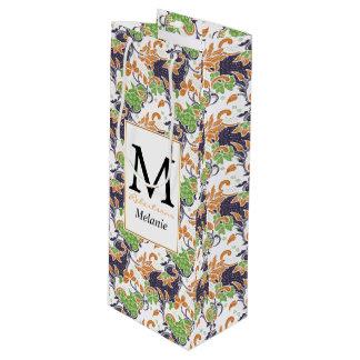 Artistic floral vines batik pattern wine gift bag