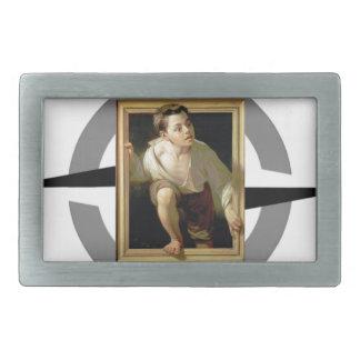 artistic freedom boy leaves rectangular belt buckle