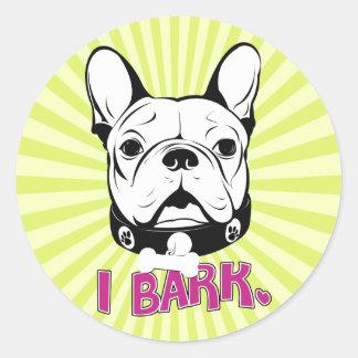 "Artistic French Bulldog ""Bark"" Design Round Sticker"
