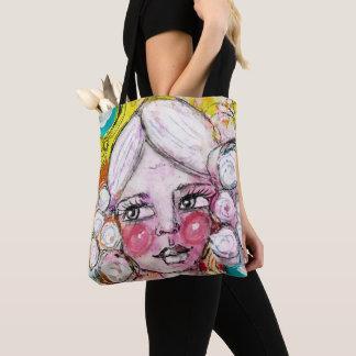 Artistic Girl Portrait Bubble Blue Yellow Fun Cute Tote Bag