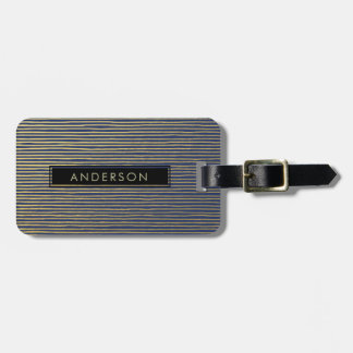 ARTISTIC GOLD NAVY SKETCH STRIPED LINE PATTERN LUGGAGE TAG
