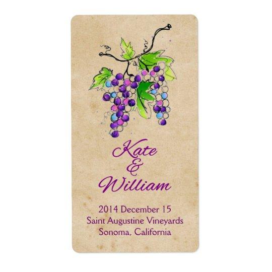 Artistic Grapes Vineyard Wedding Wine Bottle Label