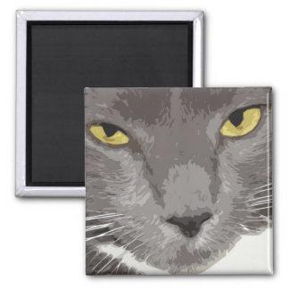 Artistic Gray Cat Face Magnet