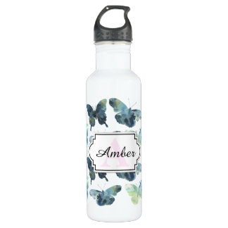 Artistic Green blue watercolor butterflies pattern 710 Ml Water Bottle