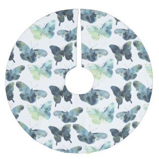 Artistic Green blue watercolor butterflies pattern Brushed Polyester Tree Skirt
