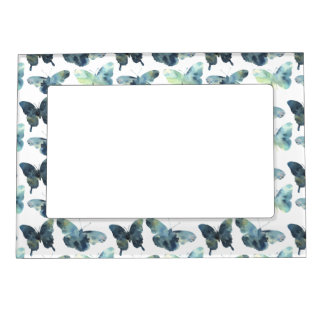 Artistic Green blue watercolor butterflies pattern Magnetic Picture Frame
