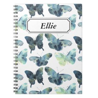 Artistic Green blue watercolor butterflies pattern Notebook