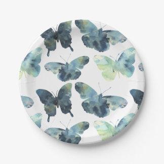 Artistic Green blue watercolor butterflies pattern Paper Plate