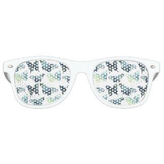 Artistic Green blue watercolor butterflies pattern Retro Sunglasses
