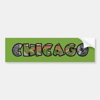 Artistic Green Chicago Logo Bumper Sticker