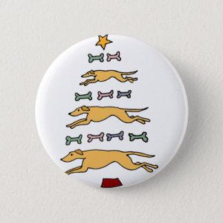Artistic Greyhound Dog and Bones Christmas Tree 6 Cm Round Badge