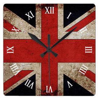 Artistic Grunge UK flag Clocks
