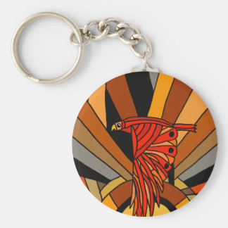 Artistic Hawk in Flight Art Deco Key Ring