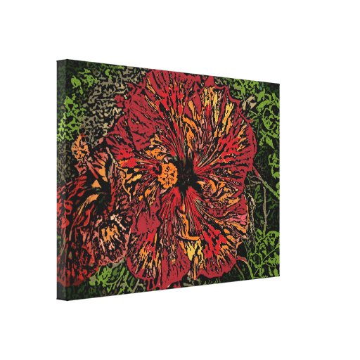 Artistic Hibiscus colorful canvas Gallery Wrap Canvas