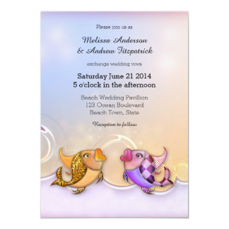 Artistic Kissing Fishes Wedding Invitation