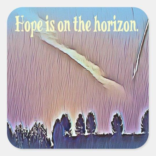 Artistic Landscape Hope On Horizon Quote Square Sticker