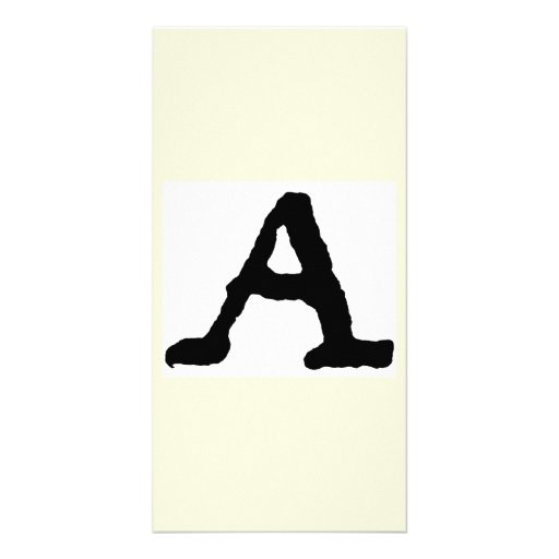 "Artistic Letter ""A"" Woodcut Woodblock Initial Custom Photo Card"