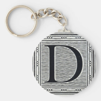 """Artistic Letter """"D"""" Woodcut Woodblock Initial Basic Round Button Key Ring"""
