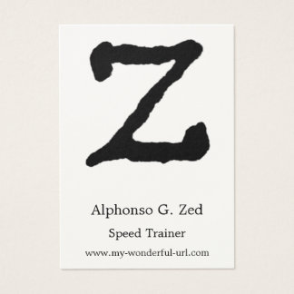 """Artistic Letter """"Z"""" Hand Lettered Style Initial Business Card"""