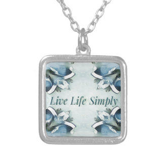 Artistic Light Airy Blue Green Positive Pattern Silver Plated Necklace