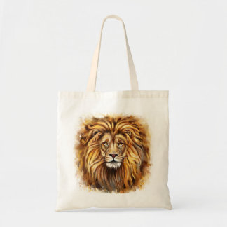 Artistic Lion Face Budget Tote Bag