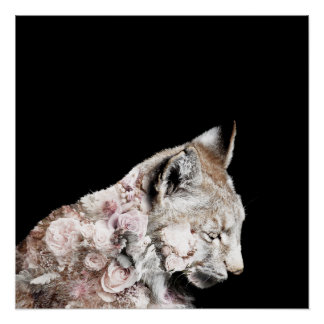 Artistic Lynx Roses Double Exposure Photo Poster