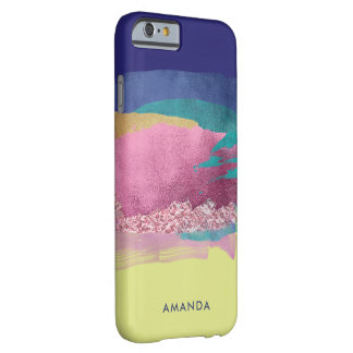 Artistic Metallic Brush Strokes with Monogram Barely There iPhone 6 Case