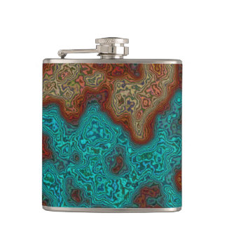 Artistic Minerals Map Design> Hip Flask