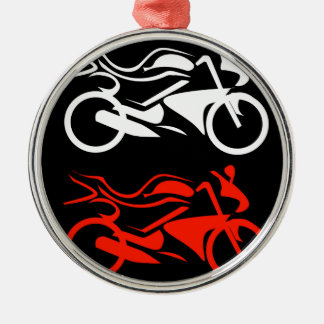 Artistic motorbike graphic Silver-Colored round decoration