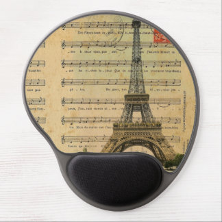 Artistic music notes Paris Eiffel Tower Gel Mouse Pad