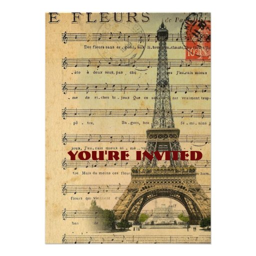 Artistic music notes Paris Eiffel Tower Personalized Invite