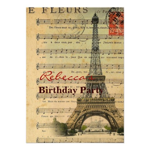 Artistic music notes Paris Eiffel Tower Personalized Invites