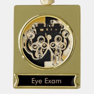 Artistic Optometry Eye Exam Lenses Gold Plated Banner Ornament