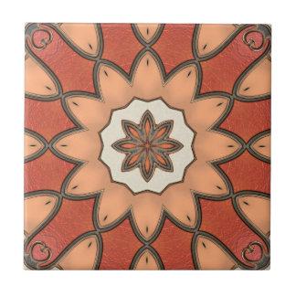 Artistic Orange Red Floral Geometric Ceramic Tile