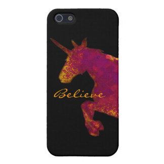 Artistic Painted Unicorn With Believe Text iPhone 5 Cases