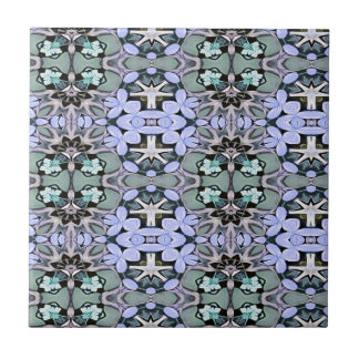 Artistic Pastel Green Periwinkle Abstract Pattern Ceramic Tile