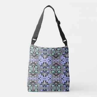 Artistic Pastel Green Periwinkle Abstract Pattern Crossbody Bag