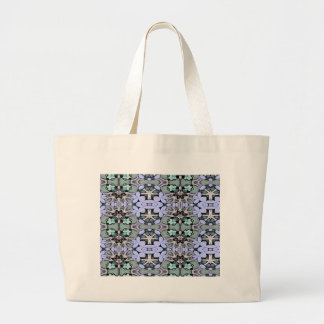 Artistic Pastel Green Periwinkle Abstract Pattern Large Tote Bag