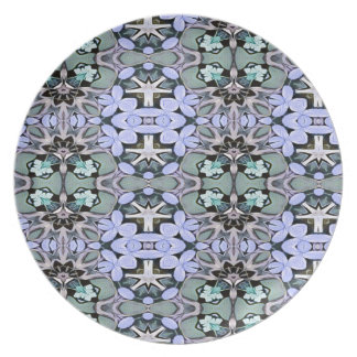 Artistic Pastel Green Periwinkle Abstract Pattern Plate