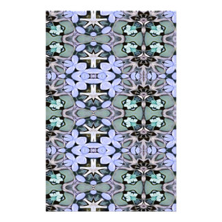 Artistic Pastel Green Periwinkle Abstract Pattern Stationery