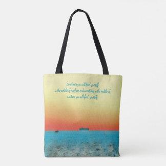 Artistic Pastel Ocean at Dawn Inspirational Quote Tote Bag